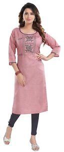 Women Indian Kurti Tunic Kurta Shirt Ethnic Cotton Blend Embroidery Dress NR103
