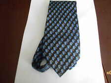 Mens Silk Tie Black Background with Two Tone Blue Oblongs & Gold Design