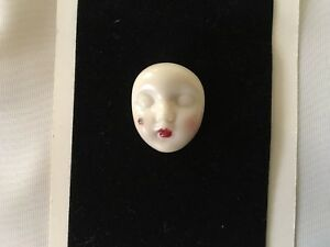 Adagio Vintage 1983 Handpainted Porcelain Face Brooch-Scarlet-signed By Adagio
