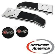 68-77 Corvette Door Latch Handles NEW With Emblems