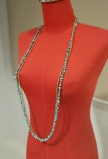 Double  Strand Turquoise Brass Chain  Long Wrap Necklace