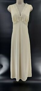Vintage J C Penney Sleeveless Ivory Lace Floral Gown Nightie Silky Tie Bac Large
