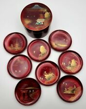 Vtg Japan Lacquerware 8 Coaster Set w/ Storage Box RED Gold & Mother of PEARL