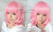 Hot Style! Short Light Pink Curly Cosplay BOB Wavy Wig+Gift Hairnet