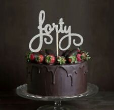FORTY GLITTER CAKE TOPPER 40   BIRTHDAY PARTY MILESTONE 40TH DECORATIONS