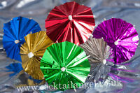 METALLIC   COCKTAIL UMBRELLAS  PACK OF 20 Assorted Colours
