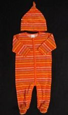 Oshkosh Boys Orange Striped Velour Footed Romper & Hat Outfit Size 12 Months