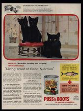 1956 Black Kittens & Cat - PUSS N' BOOTS Cat Food VINTAGE MAGAZINE ADVERTISEMENT