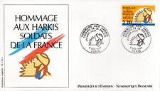 2613+ FDC ENVELOPPE 1er JOUR NUMISMATIQUE FRANCAISE HOMMAGE AUX HARKIS
