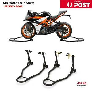Heavy-Duty Front&Rear Motorcycle Bike Lift Stand Motorbike Paddock Carrier Black
