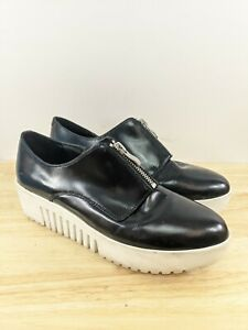Opening Ceremony Front Zip Black Leather Sneakers Shoes Sz 39 Eu 8.5 Us