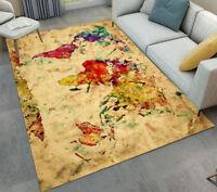 Retro World Map Kid Area Rug Soft Carpet for Home Living Room Non Slip Floor Mat