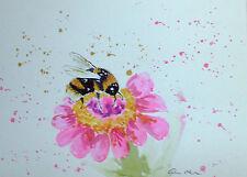 Bumble Bee & Rosa Fiore Originale dipinto ad Acquerello Taglia a4 by Casimira