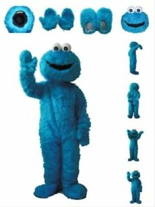 Sesame Street Blue Cookie Monster Mascot Costume Adult Birthday Xmas Fancy Dress