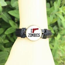 Zombie THE Walking dead Bangle 20 mm Glass Cabochon Leather  Charm Bracelet