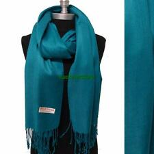 NEW Women Soft PASHMINA Cashmere SILK Classic Solid Shawl Scarf Wrap Teal #707