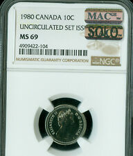 1980 CANADA 10 CENTS NGC MS-69 PQ MAC SOLO FINEST GRADE MAC SPOTLESS *