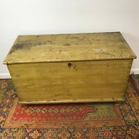 Antique 19th Century Mustard Paint Decorated Blanket Chest