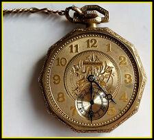 Vintage 14kt Gold-Filled Hampden Half Hunter Pocket Watch w/ Chain:Needs Service