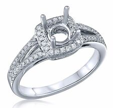 Semi Mount Diamond Engagement Ring Setting Halo 6mm to 7.25mm Center 14K W Gold