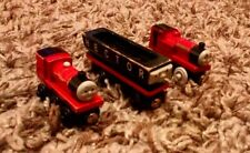 3 THOMAS THE TANK ENGINE WOODEN TRAINS RHENEAS JAMES & HECTOR BRIO LEARNING