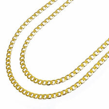 "Men's 14K Yellow Gold Plated 4 mm Cuban Double Chain Necklace 22""+26"" 2pc Set"