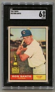 1961 TOPPS #35 RON SANTO RC Chicago Cubs HOF SGC 6 Centered Very Nice!