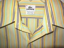 Lacoste Men's Stripe Shirt sz 40 M Yellow Cotton Button Front L/S
