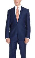 Mens 38L Raphael Regular Fit Solid Blue Two Button Suit