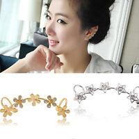 Trendy Womens Crystal Star Flower Gold Ear Cuff Stud Earring Wrap Clip On Ear