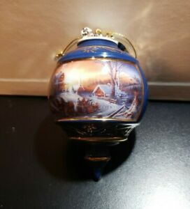 1999 Terry Redlin Porcelain Christmas Tree Ornament THE PLEASURE OF WINTER