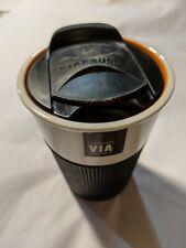 Starbucks 2011 8 oz Orange Via Ready Brew Ceramic Travel Cup Tumbler Mug Rubber