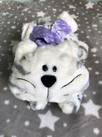 Soft Plush Chilly Tesco Stripy Chester Cat Toy Teddy kitten purple scarf 04 2004
