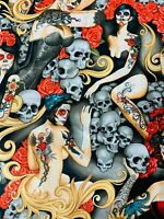 1/2 Yard Las Elegantes Alexander Henry Cotton Fabric Pin Up Dia de los Muertos