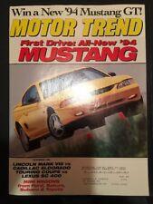 Motor Trend Nov 1993 Back Issue Mustang GT Lincoln My VIII Eldorado Lexus SC etc