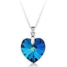 18K 18CT White GOLD GF Ocean BLUE Love Heart SWAROVSKI CRYSTAL NECKLACE S1019