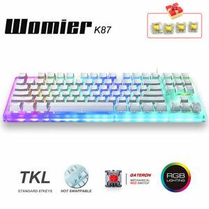 Womier K87 Mechanical Gaming Keyboard RGB Rainbow Backlit Hot Swap Red Switch