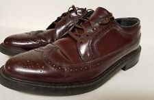 VINTAGE BROWN/BRUGANDY LEATHER THOM MCAN WING TIP OXFORD DRESS SHOES-vulcan sole