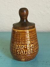 Vintage Pottery BAR-B-QUE SAUCE Crock Jar w/Brush In Lid GUC!