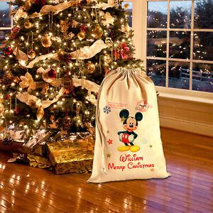 Personalised Name Christmas Xmas Mickey Minnie Mouse Gift Santa Sack Bag 2021