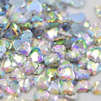50 x AB Clear Sew on Acrylic Heart Diamante Crystal Gems Rhinestone 10mm