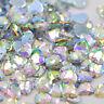 50 x AB Clear Sew on Heart Diamante Crystal Gems Rhinestone 10mm #13