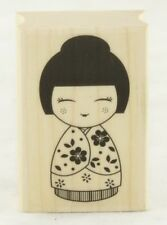 Japanese Doll #2 Wood Mounted Rubber Stamp Hero Arts NEW floral kimono asian art