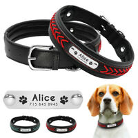 Braided Personalised Dog Collar Soft Padded Name ID Collars Tag Engraved Bulldog