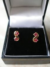 PAIR OF 9 CARAT GOLD RUBY OR SAPPHIRE FANCY STUD EARRINGS MADE IN UK BRAND NEW