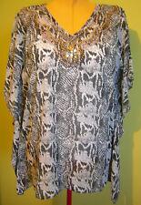 Ladies Womens Black White Snake Print Kaftan Top Casual Rockmans Size S/M 10-12