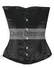 Halfbust Full Steel Bone spiral Bustier Shaper Gothic Glamour Black Satin Corset