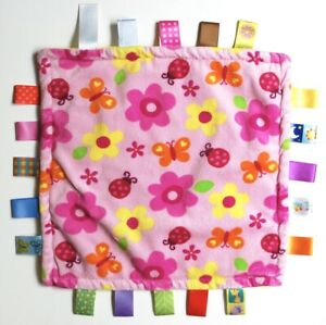 """Taggies Security Blanket Pink Yellow Flowers Butterflies Baby Lovey Tags 12"""""""