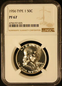 1956 Type 1 Franklin Half NGC PF 67, HIGH QUALITY, Price Guide $445