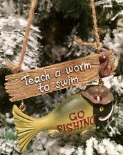 New/Teach A Worm To Swim~Go Fishing Christmas Tree Ornament~Gift~Rare!